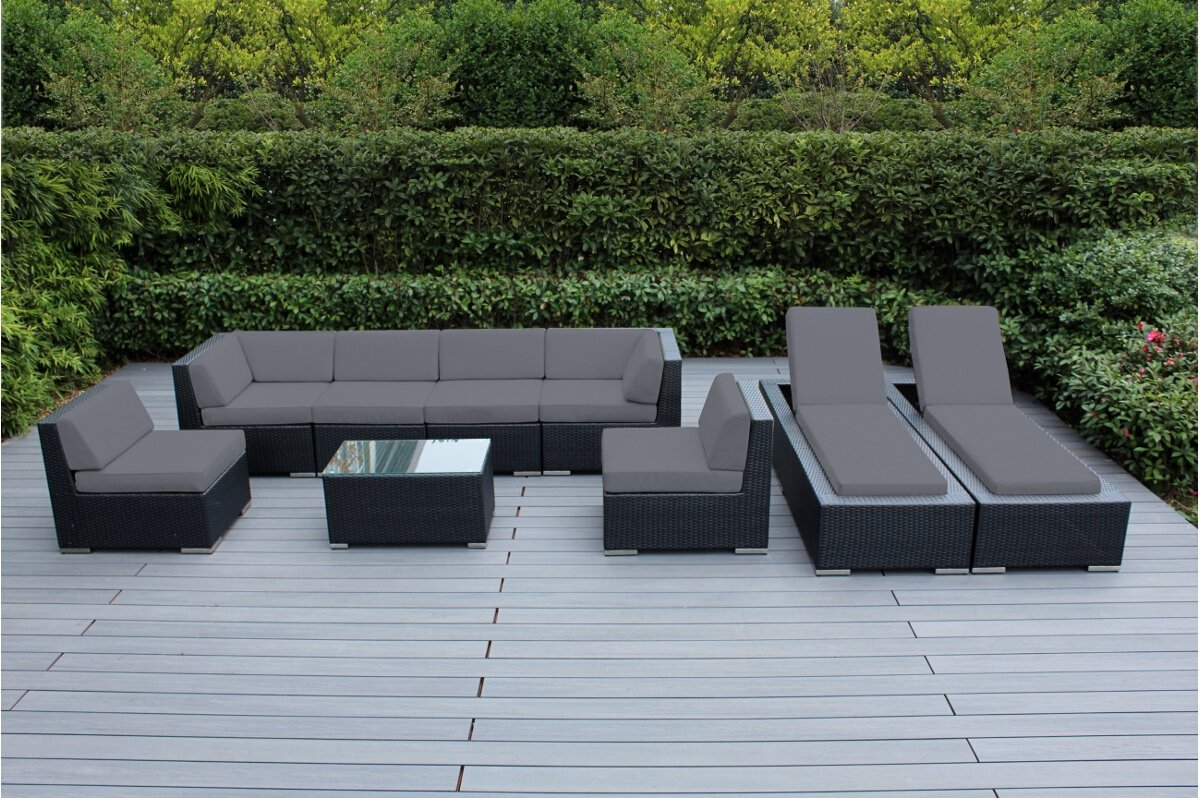 Genuine Ohana Outdoor Sectional Sofa and Chaise Lounge Set (9 Pc Set) with Free Patio Cover (Gray) - Sofa 7pc set includes 2 Corner Sofas + 4 Middle Sofas + 1 Coffee Table The Sofa set is 28 inches tall to provide full support for your back. Chaise Lounge Set ( 2 pc ). Two Free patio covers and Free Clips ($299 value ) Matching Black Wicker set. Deep Seating Set: $1499+ 2 Chaise Lounge set: $1299= $2798. Combo Savings - patio-furniture, patio, conversation-sets - 7113w59axlL -