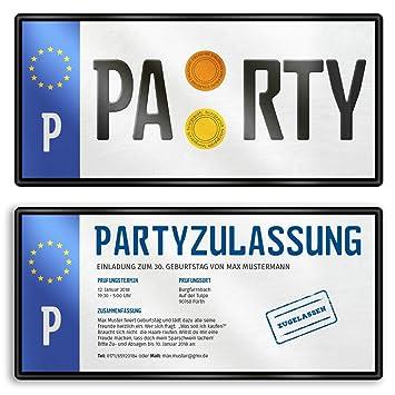 30 X Einladungskarten Geburtstag Nummernschild Auto Schild Plakette