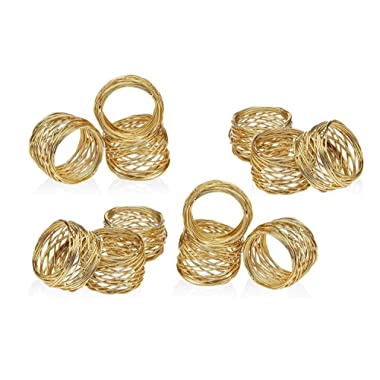 ARN Craft Golden Round Mesh Napkin Rings- Set of 12 for Weddings Dinner Parties or Every Day Use (CW- 06-12)