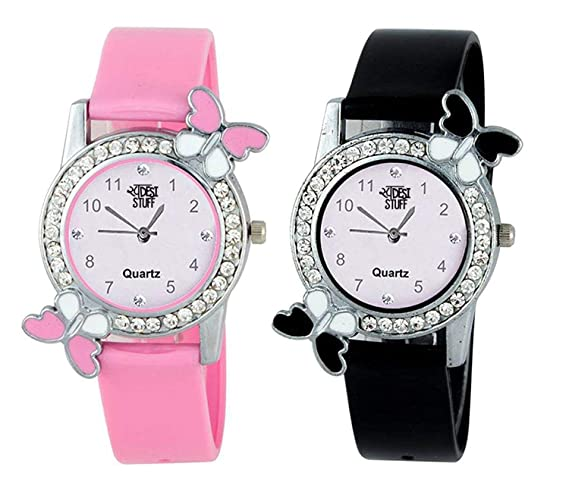 cfe06e1191d Buy Swadesi Stuff Analogue Multicolor Dial Women s   Girl s Watch Combo - 2  Butterfly Pink Black Online at Low Prices in India - Amazon.in