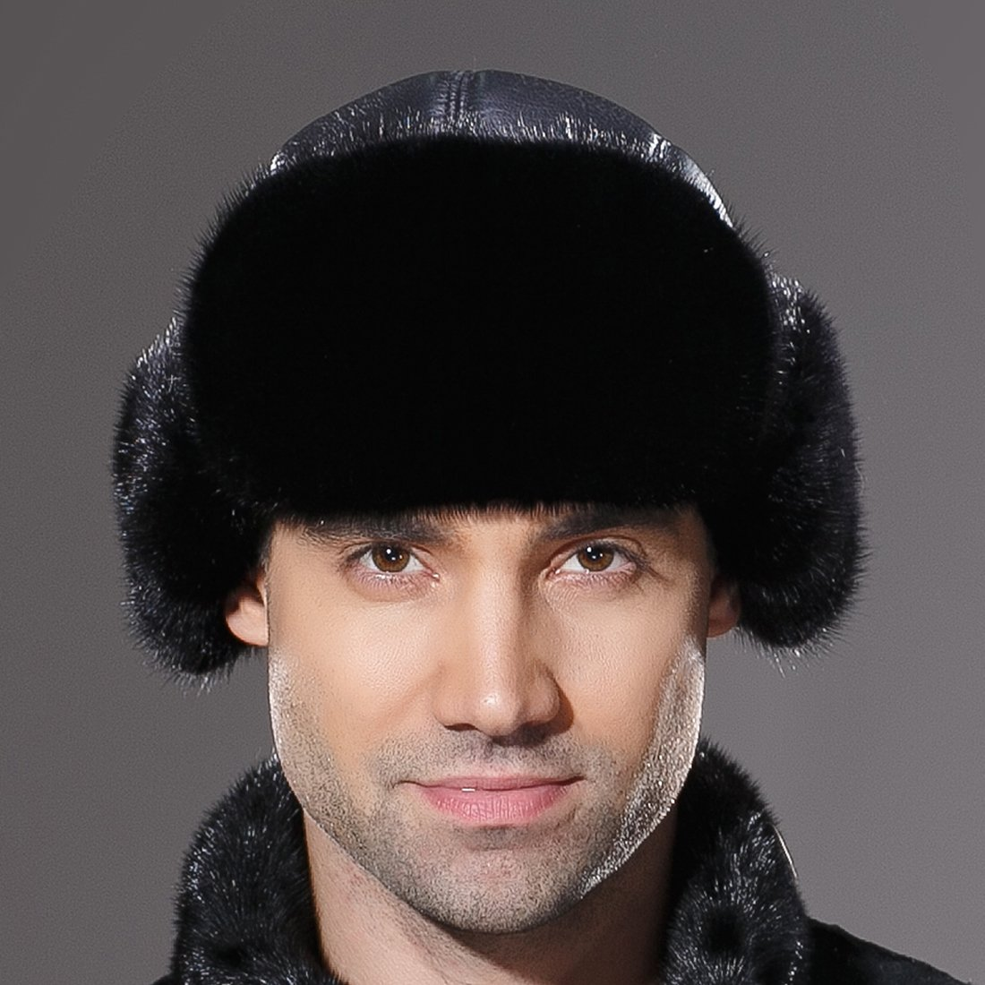 URSFUR Winter Leather Men Fur Hat Real Mink Fur Russian Trapper Hats Black by URSFUR (Image #5)