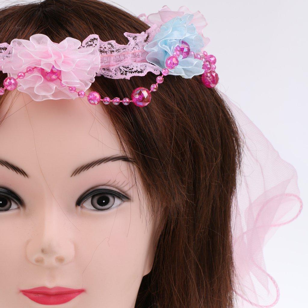 MagiDeal Kinder Blumenkrone mit Schleier Haarkranz Schleier Prinzessin Kopfband Kommunion Blumenstirnband