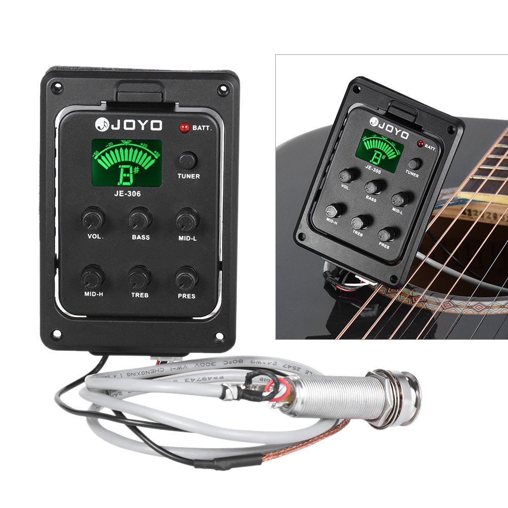 Amazon.com: JOYO JE-306 5-Band EQ Equalizer Acoustic Guitar Piezo Pickup Preamp Tuner System with LCD Display: Musical Instruments