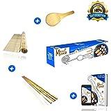 ✅ Kit à sushis et makis Merci Myself® -Sushi kit -Sushi maker★☆Natte en bambou naturel +2 paires de baguettes +Cuillère en Bambou+ CADEAU:E-book recettes ★☆Kit DIY japon et cuisine facile