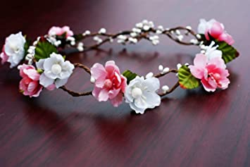 Amazon bridal flower crown floral crown wedding wreath boho bridal flower crown floral crown wedding wreath boho garland whitepink mightylinksfo