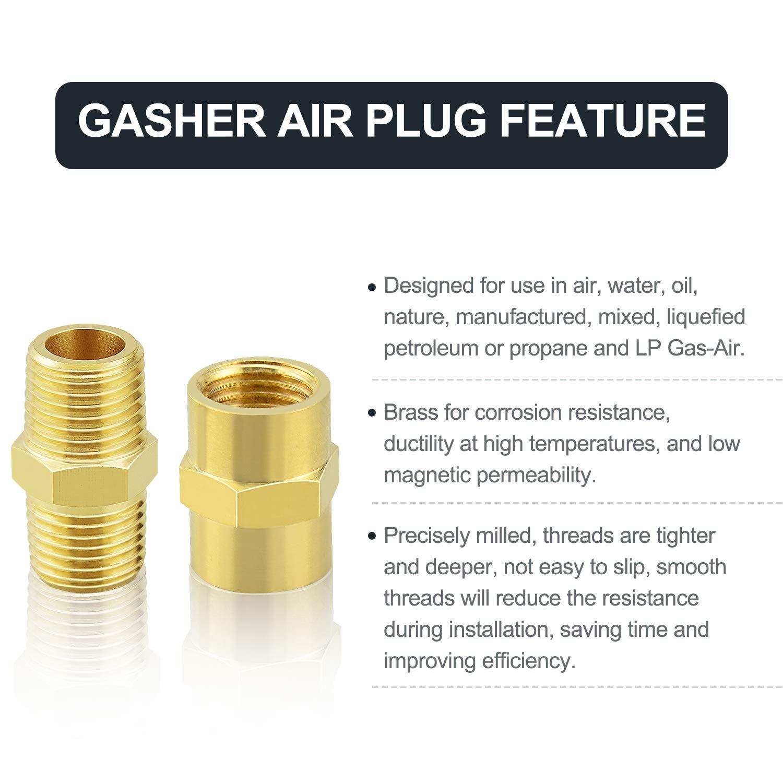 Hex Nipple Brass Tone Gasher 12PCS Metals Brass Pipe Fitting 1//4 x 1//4 NPT Male Thread Pipe 1//4Inch x 1//4Inch NPT Female Thread Pipe