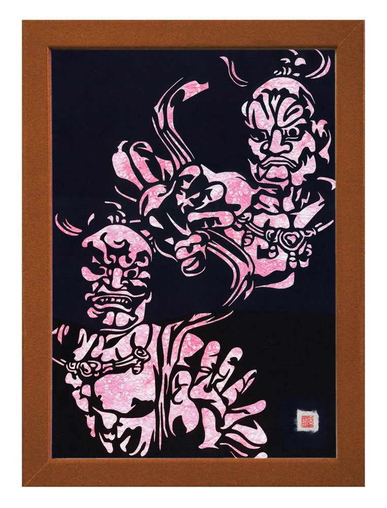 """Cutout picture Japanese art collage KIRIE """"Todaiji Kongorikishi"""" Vajradhara(a Deva king who is a guardian of the Buddha) Made by Washi(Japanese paper) Cherry-blossom color, 13"""" x 18"""""""