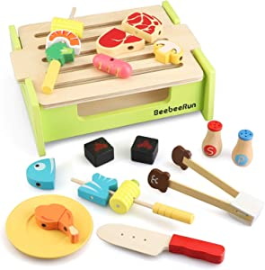 BeebeeRun Wooden Play Food Toy, 23Pcs Barbecue Grill Play Set, Pretend Play Kitchen Set, Cooking Gift for Girls and Boys - Best for 3, 4, 5, and 6 Year Olds,
