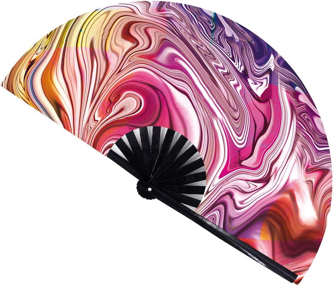 Amajiji Large Folding Fan, Chinease/Japanese Bamboo and Nylon-Cloth Folding Hand Fan, Hand Folding Fans for Women/Men, Hand Fan Festival Fan Gift Fan Folding Fan Dance Fan (Sunset Dream)