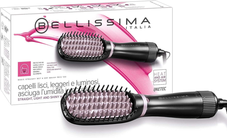 Imetec Bellissima Magic Straight Wet&Dry Brush Cepillo eléctrico alisador con soplo de aire y cerdas calefafactoras, revestimiento de cerámica y turmalina, 3 configuraciones de uso