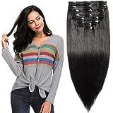 """10""""-22"""" Double Weft 110-160g 8PCS Extensions de Cheveux Humains a Clips Naturels - Maxi Volume"""