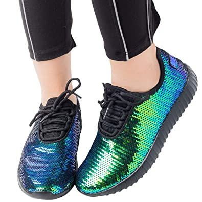 a39c86795bcc Amazon.com | Forever Womens Round Toe Hologram Sequin Lace Up Flat Fashion  Sneaker Ankle Booties Boot Shoes | Shoes