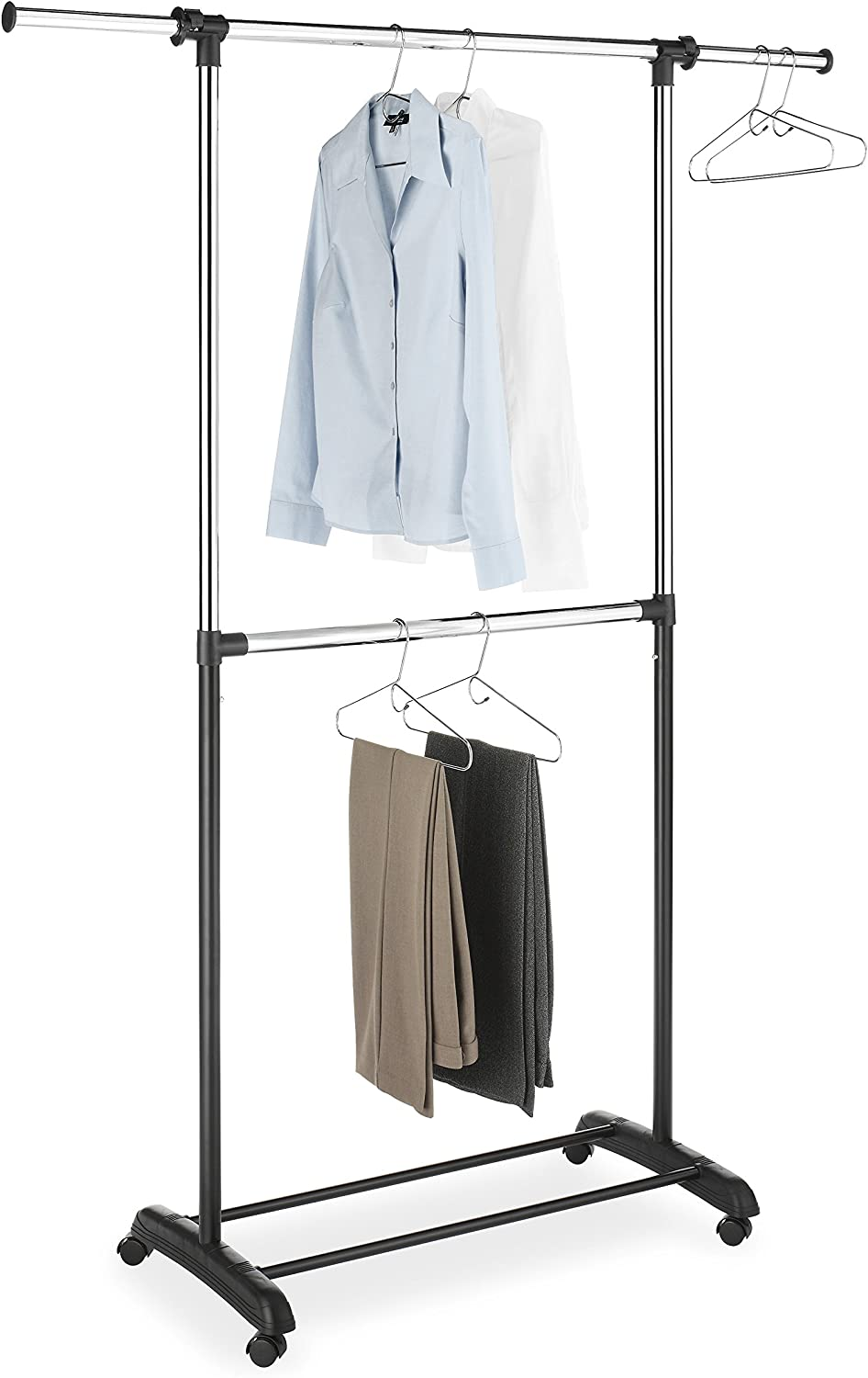Whitmor Adjustable 2-Rod Garment Rack - Rolling Clothes Organizer - Black and Chrome: Home & Kitchen