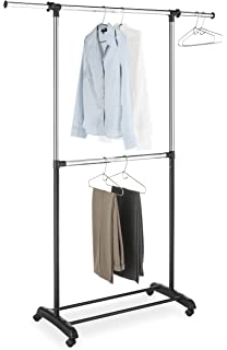 Attractive Whitmor Adjustable 2 Rod Garment Rack   Rolling Clothes Organizer   Black  And Chrome