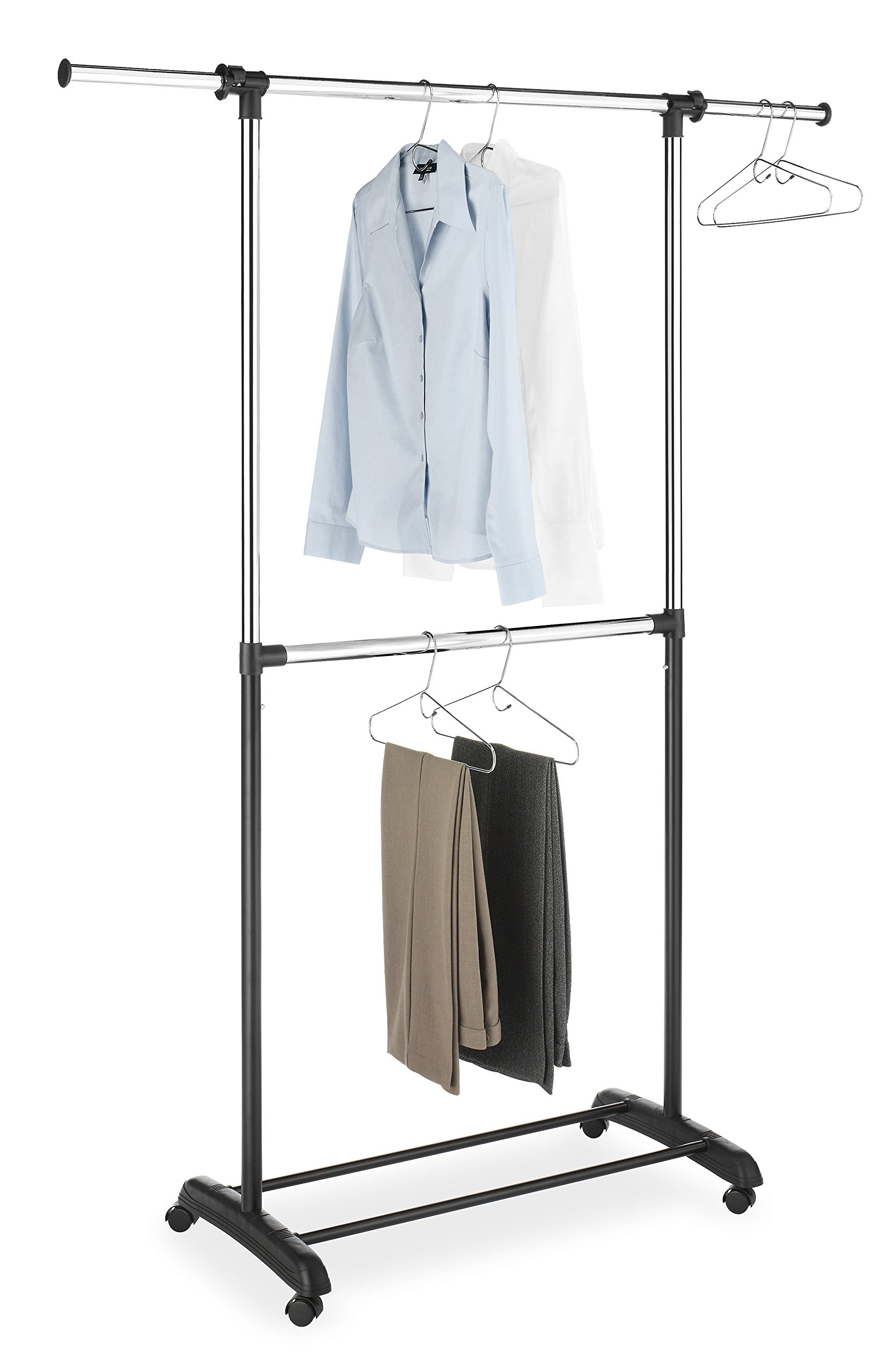 Whitmor Adjustable 2-Rod Garment Rack - Rolling Clothes Organizer - Black and Chrome by Whitmor
