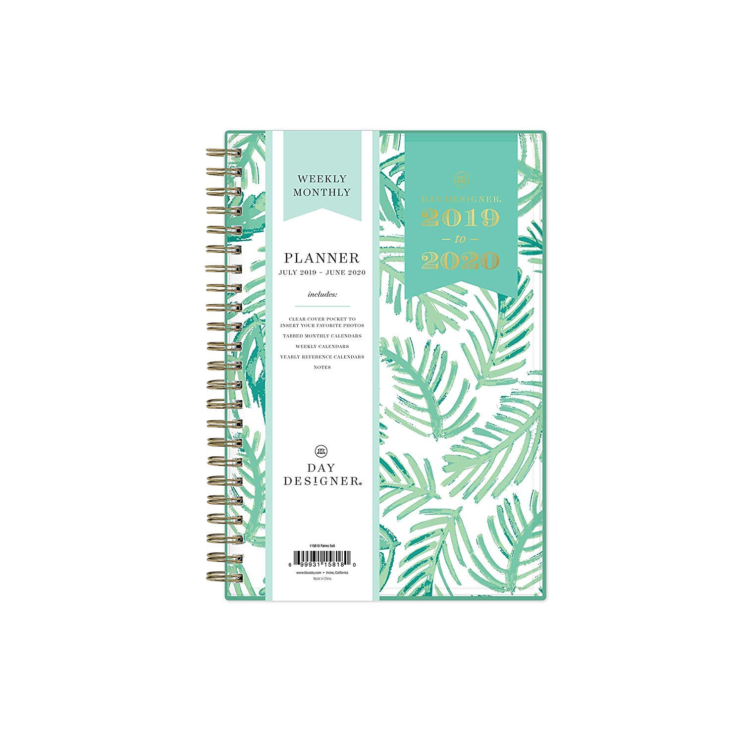 Blue Sky Day Designer 2019-2020 Academic Year Weekly & Monthly Planner, Flexible Cover, Twin-Wire Binding, 5'' x 8'', Palms