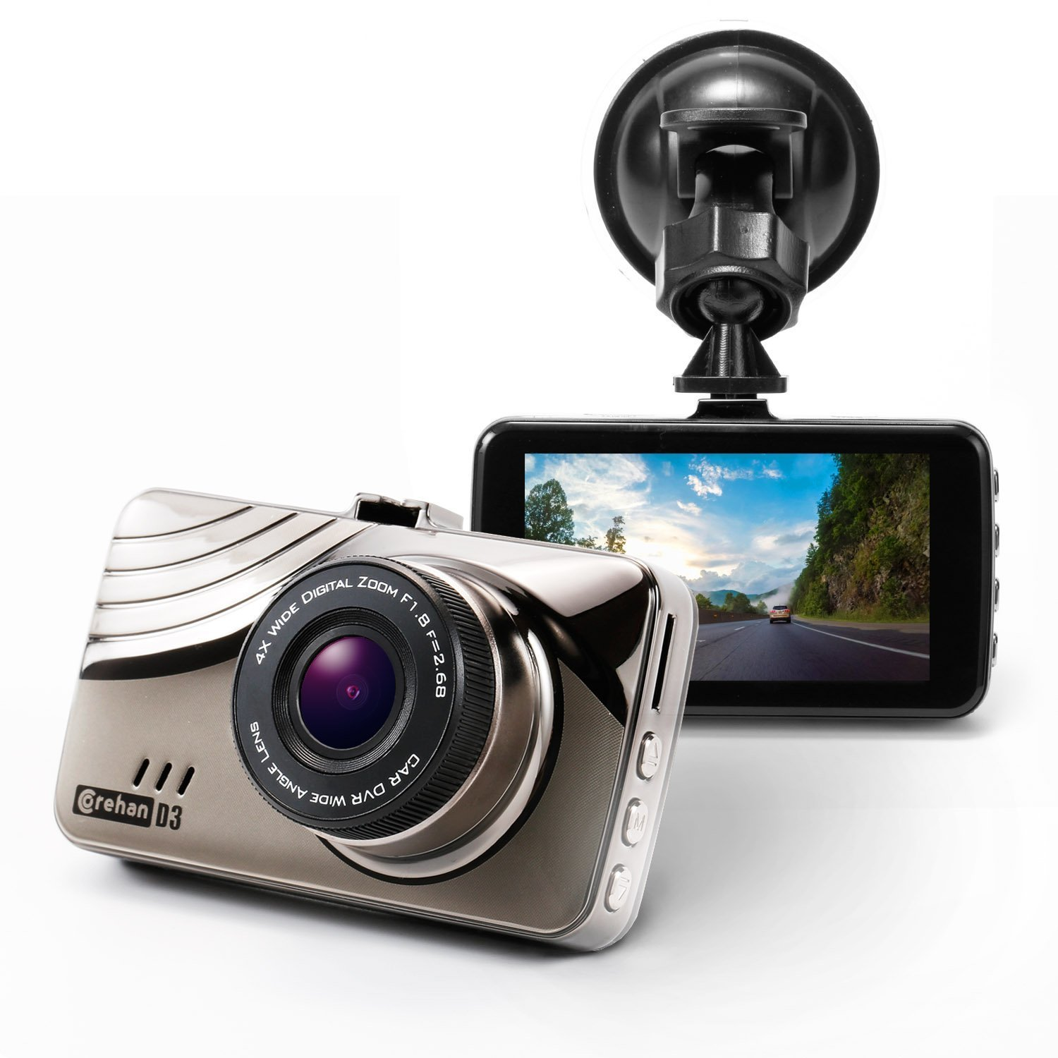 "Full HD Car Dash Cam – Corehan 1080P H.264 170 Degrees Wide Angle Lens Dashboard Camera Dvr with 3"" LCD Screen G Sensor Night Vision WDR Audio Loop Recording"