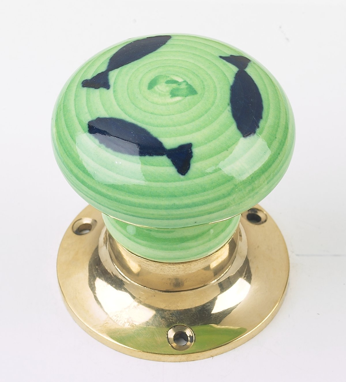 Pair of Lime Green Ceramic Sprung Door Knobs With Chrome Backplates