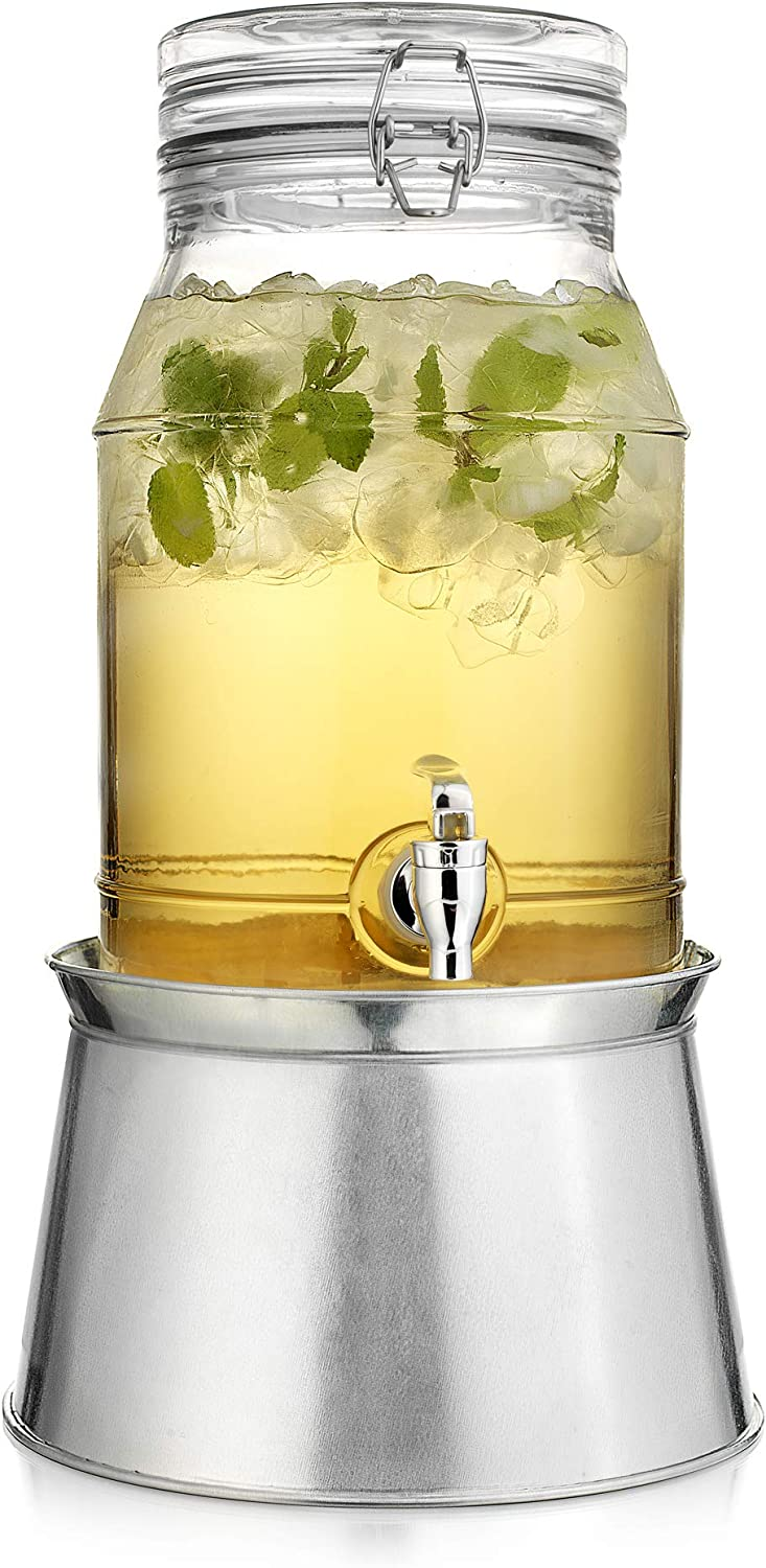 Classic Home Beverage Drink Dispenser Durable Glass Lock Top Lid on Galvanized Stand 1.5 Gallon with Spigot