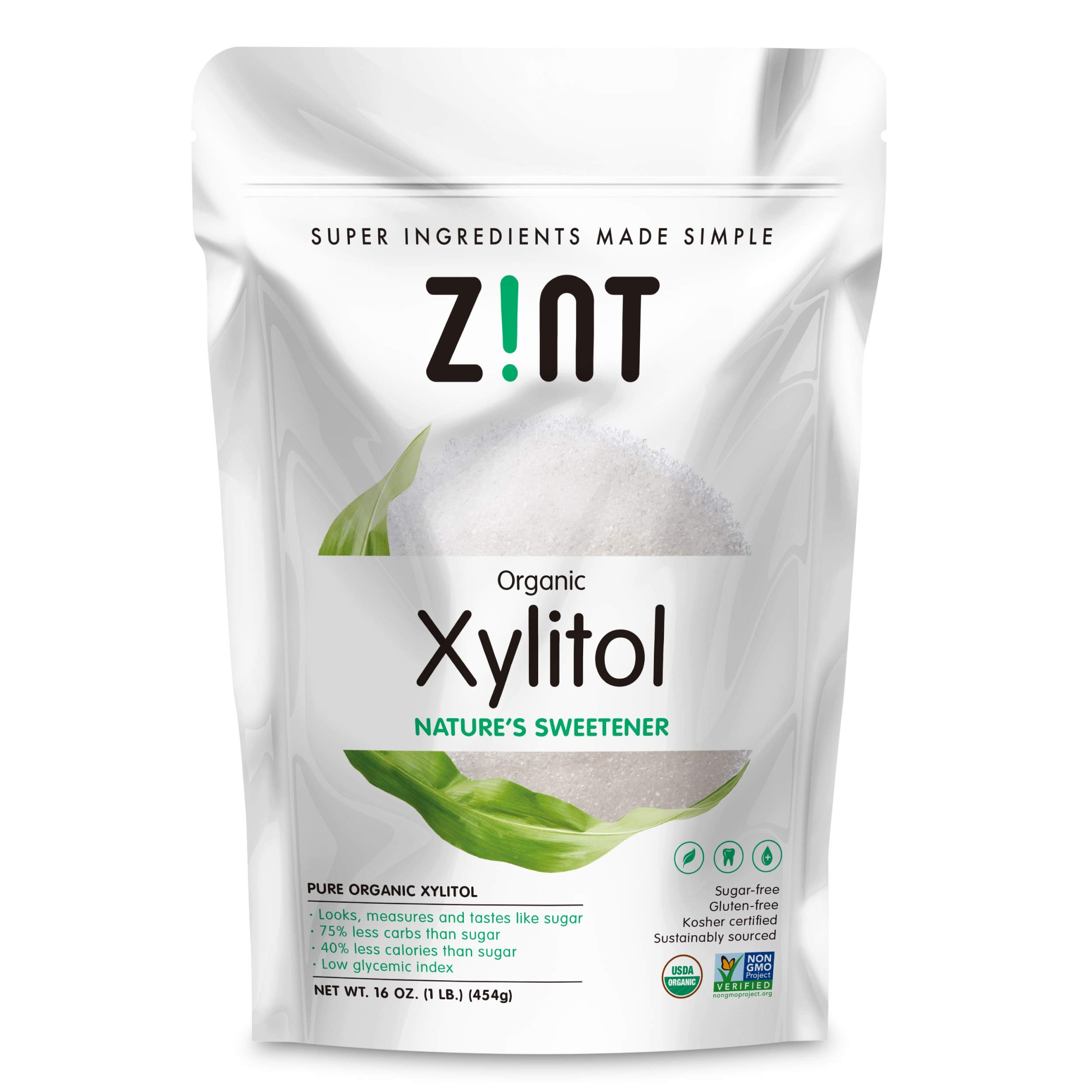 Zint Organic Xylitol Sweetener: Natural Sugar Free Substitute, Non GMO, Low Glycemic Index, Measures & Tastes Like Sugar (16 ounces)