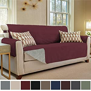 Gorilla Grip Original Slip Resistant Sofa Slipcover Protector, Seat Width Up to 70 Inch Suede-Like, Patent Pending, 2 Inch Straps, Hook, Couch Cover for Kids, Dogs, Pets, Sofa, Merlot