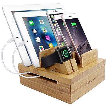 iCozzier Bambus 5-Slot Ladestation Tablet und Kabel Organizer Ständer Dock  für Apple Watch, iPhone, iPad, iWatch