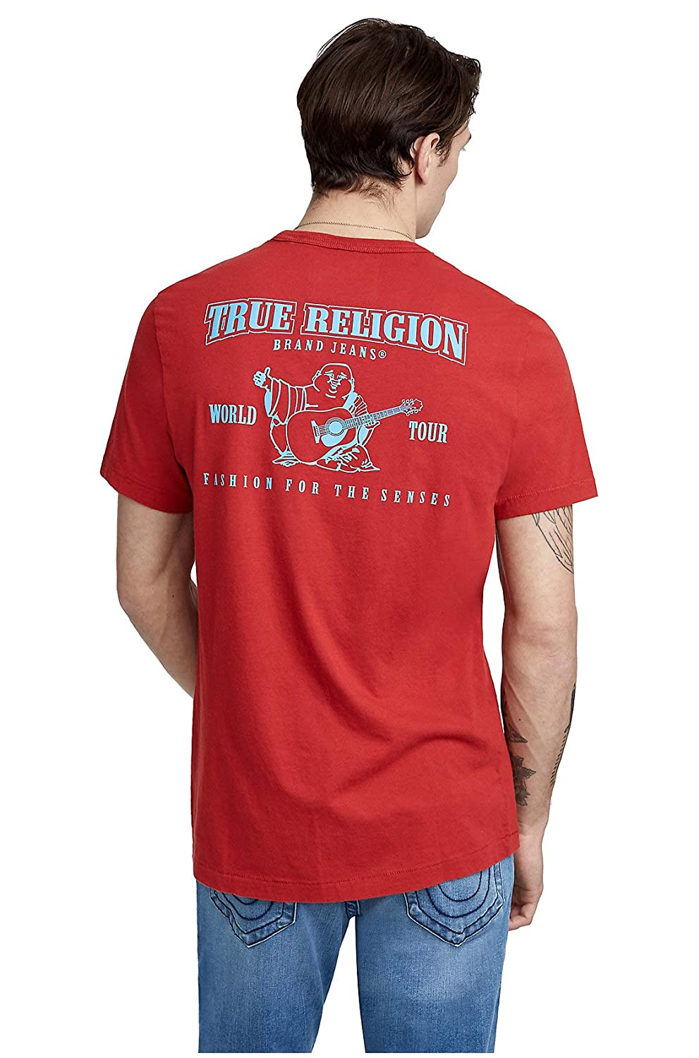 6a4e17497 Iconic True Religion Buddha logo featured in puff graphic. Pairs back to  your favorite pair of true denim