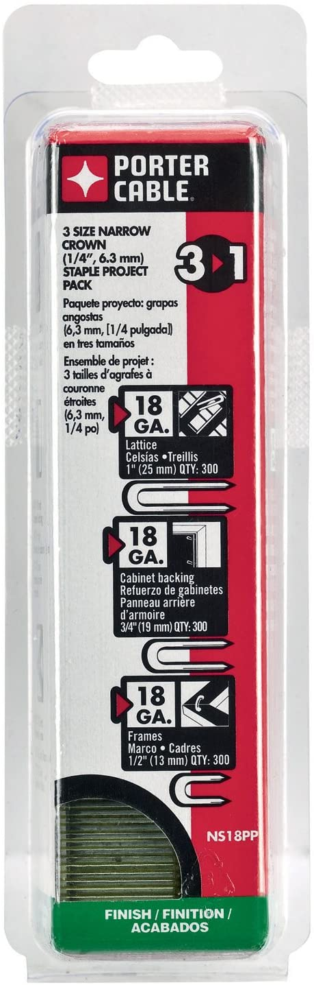 Porter Cable Ns18pp 18 Gauge Narrow Crown Staple Project Pack 900