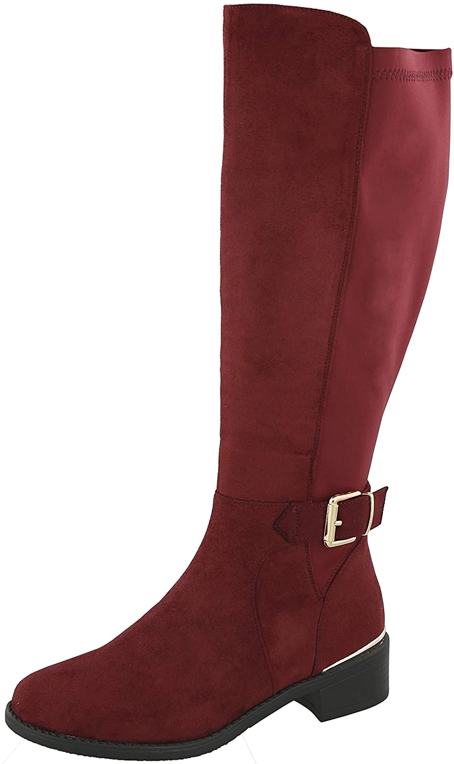 Wine Imsu Cambridge Select Women's Round Toe Stretch Low Heel Knee-High Riding Boot
