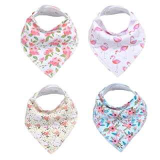 Baby Girl Bandana Drool Bibs for Drooling and Teething, 100% Organic Cotton , Soft and Absorbent (4)