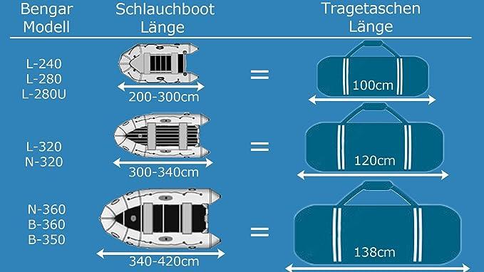 Transporttasche Riesig XXL 138x50x60cm 414 Liter Schlauchboot Tragetasche