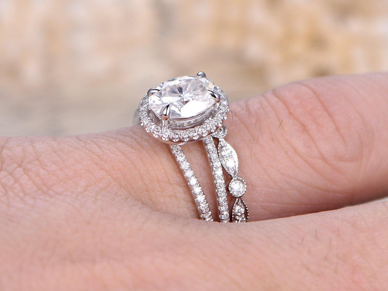Amazon.com: 2pcs Diamond Ring Set, 6x8mm Oval Cut 1.5ct Charles ...