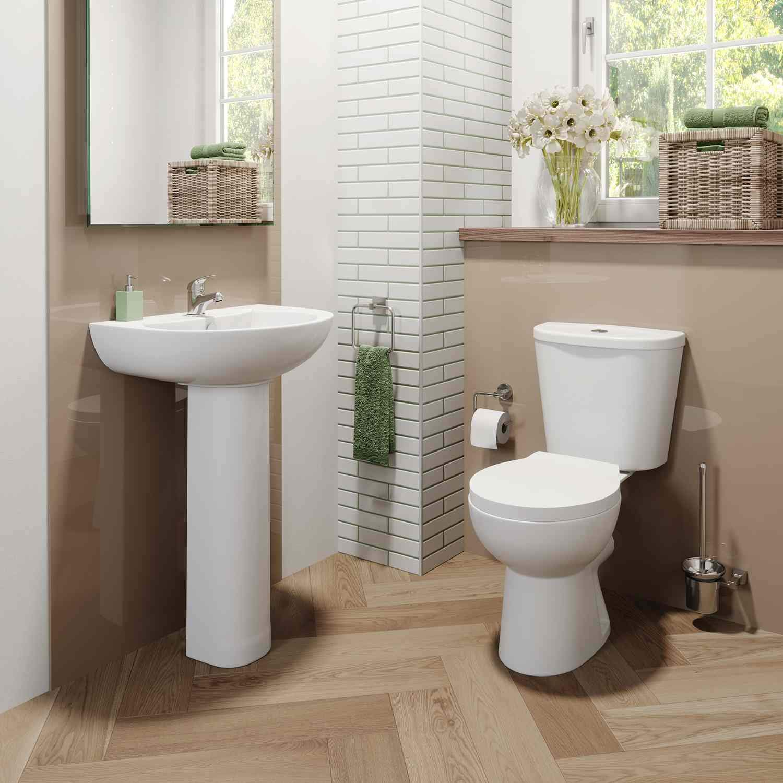 Curved Bathroom Wash Basin Sink Full Pedestal Floorstanding 1 Tap Hole Ceramic Modern Gloss White