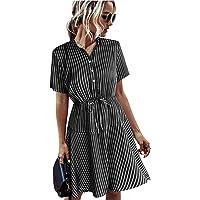 Remidoo Women's Casual Short Sleeve Striped Printed Button Hight-Waist Swing T Shirt Skater Mini Dress