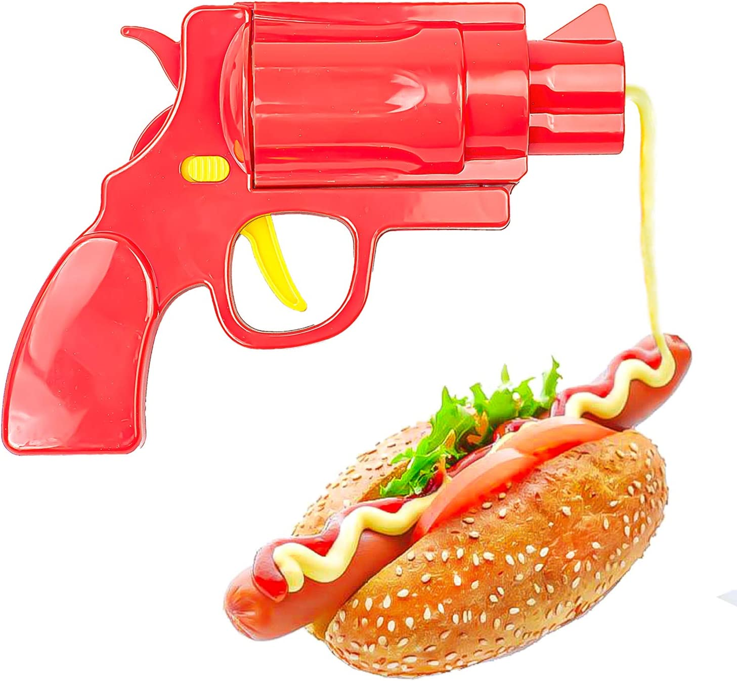 Novelty Condiment Shooter Dispenser - Plastic Ketchup Mustard BBQ Hot Sauce Container Squeeze Gun Shaped Bottle Funny