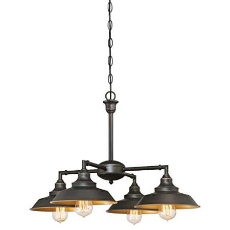 6345000 Iron Hill Four-Light Indoor Chandelier Semi-Flush Ceiling Fixture, Oil Rubbed Bronze Finish with Highlights