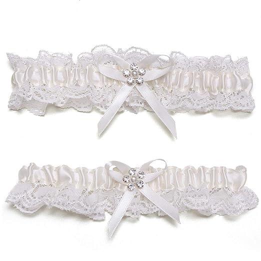 bb6f3f31a GARGALA Wedding Garters for Bride Garter Ivory White Garter Bridal Garter  with Rhinestone Satin Bow Plus