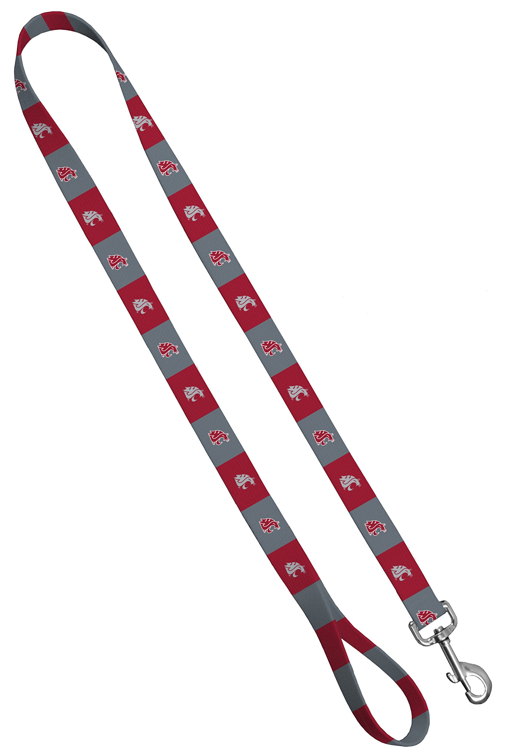 Moose Pet Wear Dog Leash – Washington State University Cougars Pet Leash, Made in the USA – 3/4 Inch Wide x 6 Feet Long, Red/Gray Box Logo