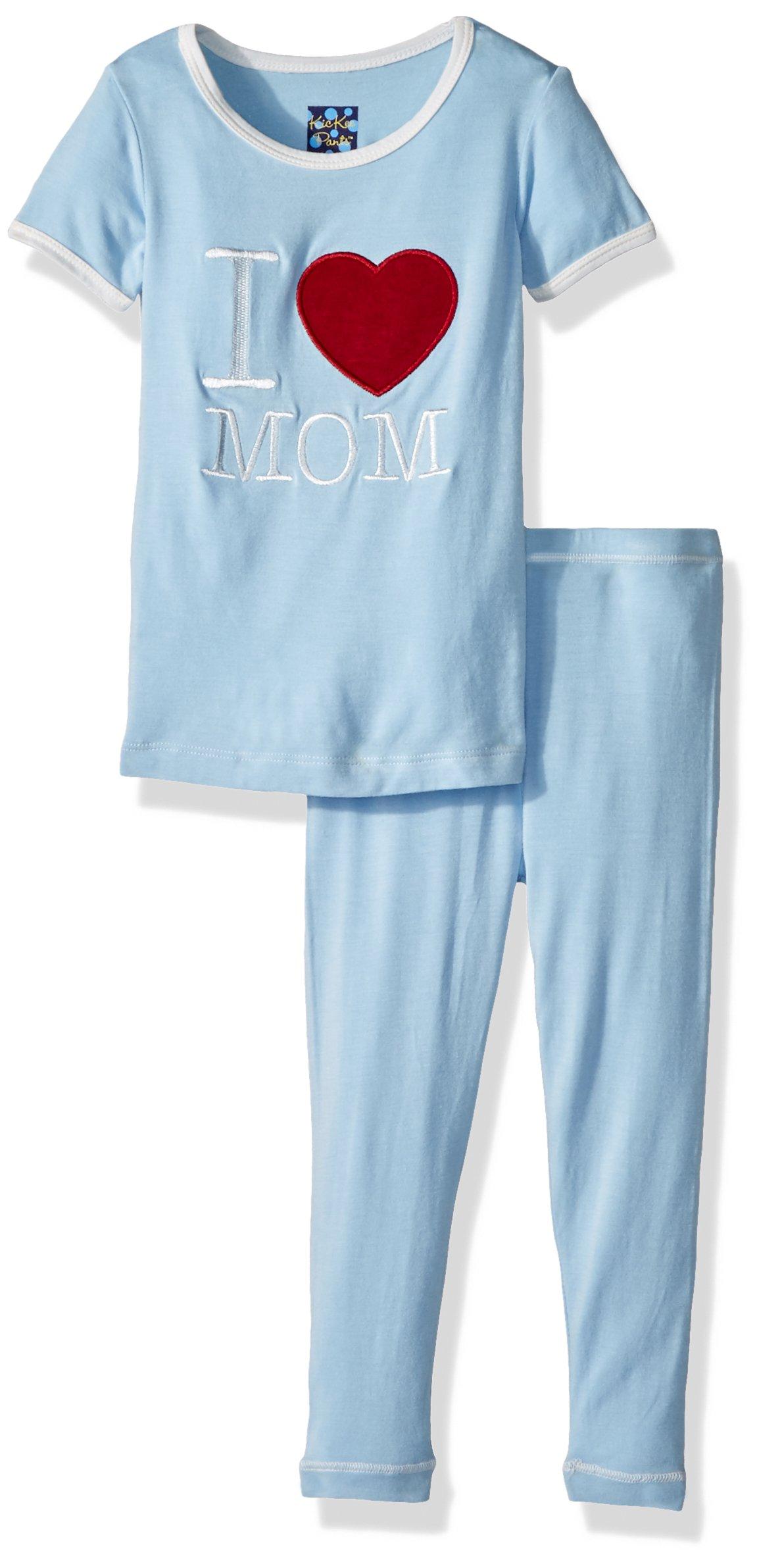 Kickee Pants Toddler Boys' Holiday Short Sleeve Applique Pajama Set, Pond I Love Mom, 4T