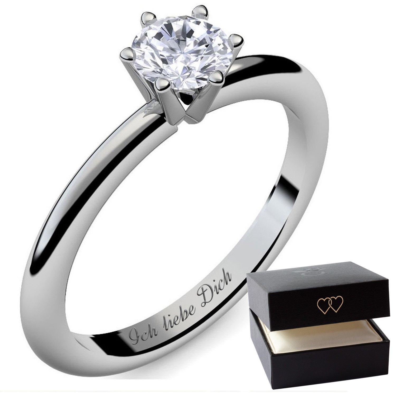 Partnerringe silber mit stein  Verlobungsringe Silber 925 von AMOONIC mit SWAROVSKI Zirkonia Ring ...