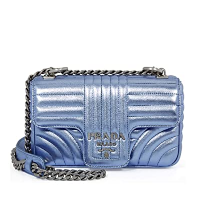 a08a2d60a2bc Prada Diagramme Leather Shoulder Bag - Blue Metallic  Handbags ...