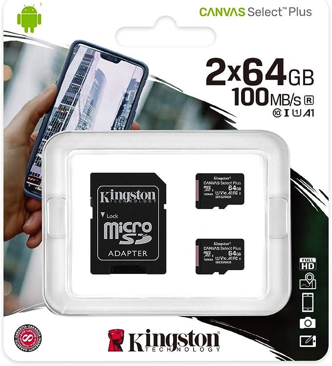 TALLA 64 GB. Kingston Canvas Select Plus Tarjeta microSD, SDCS2/64GB-2P1A Class 10 (2X Tarjetas,SD con Adaptador SD)