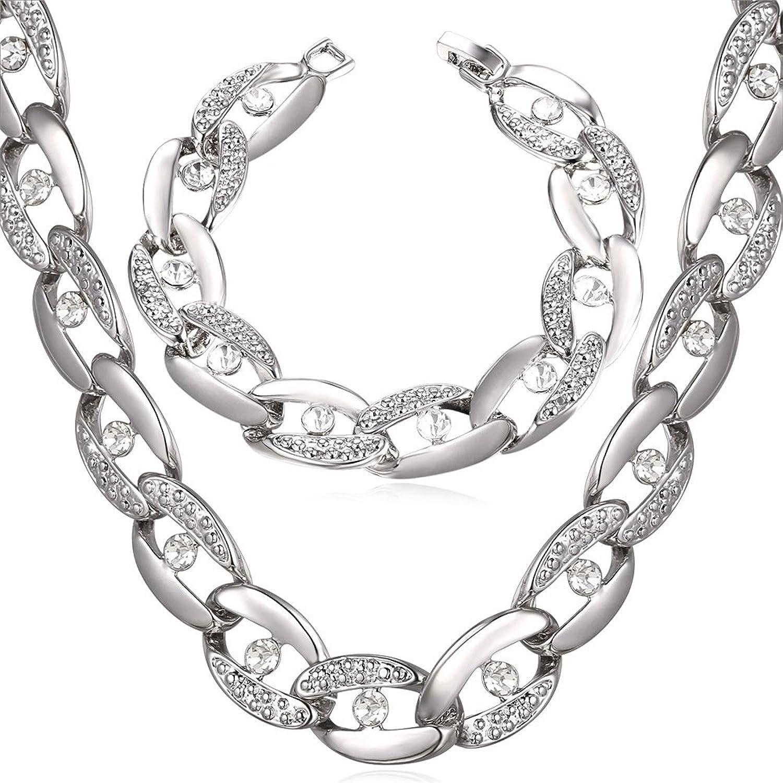 14mm Wide Big Necklace Choker Gold Plated Curb Link Bracelet Set