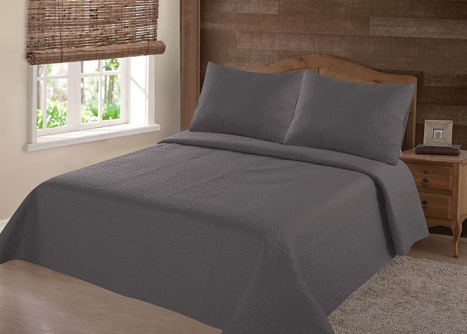 GorgeousHomeLinen (NENA) 2/3-Piece Charcoal Solid Hypoallergenic Quilt Bedspread Bed Bedding Coverlets Cover Set with Pillow Cases (Full)