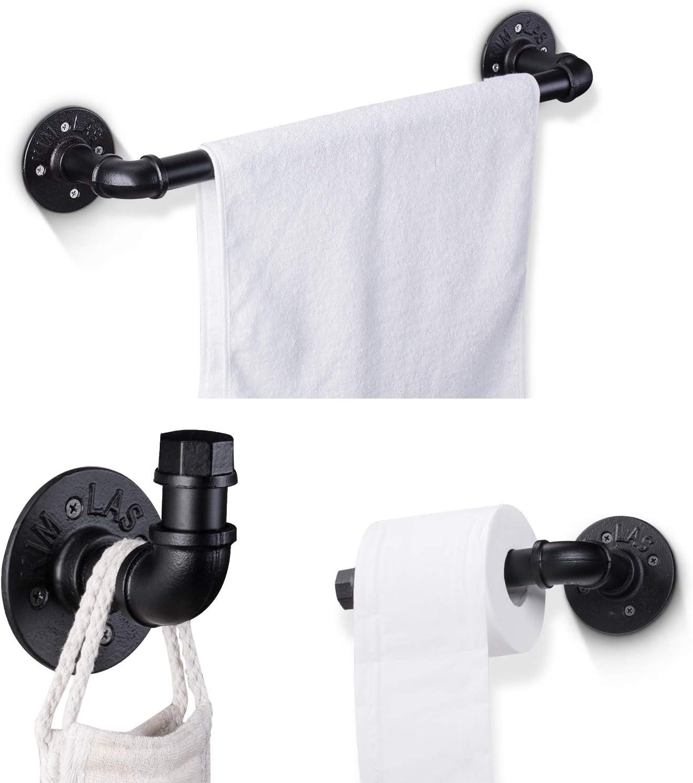 Elibbren Industrial Pipe Bathroom Hardware Fixture Set Heavy Duty DIY Wall Mount Accessories Kit Includes Robe Hook, 18 Inch Towel Bar and Toilet Paper Holder