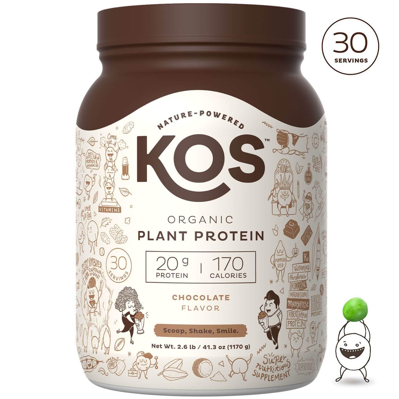 KOS Organic Plant Based Protein Powder - Raw Organic Vegan Protein Blend, 2.6 Pound, 30 Servings (Chocolate) by KOS