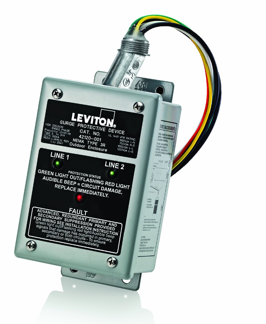 Amazon.com: Leviton 42120-1 120/240 Volt Single Phase Panel Protector,  4-Mode Protection, Commercial Grade, NEMA 3R Enclosure: Home Improvement