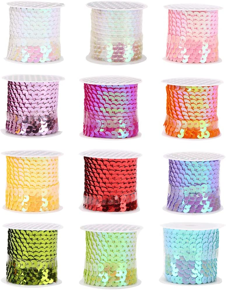 12 piezas Rollo de lentejuelas 6 mm Cintas de lentejuelas brillantes para manualidades Artesan/ía Costura Ropa Collar Vestido Decoraci/ón Rollos de Lentejuelas