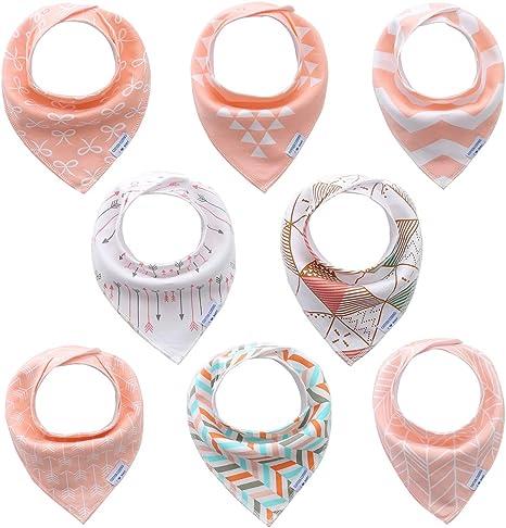 Bebé Bandana baberos para chica niñas 8 pack set, 100% algodón ...