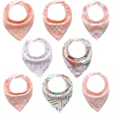Pink Baby Bandana Drool Bibs for Girls 8 Pack Set,Organic Cotton,Soft and Absorbent, Hypoallergenic Baby Feeding Bibs and Bab